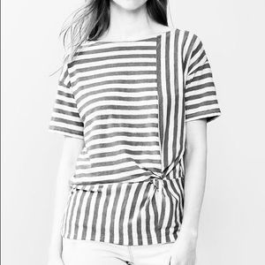 Gap Black & White Striped Twisted Knot Tee